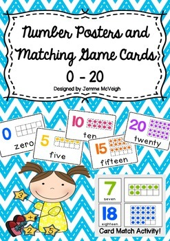 Number Posters and Flashcards Cards 0 - 20 ~ Miss Mac Attack ~