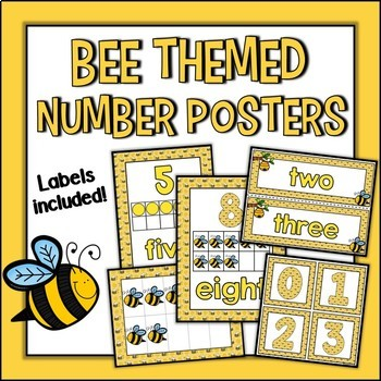 Bee Themed Number Posters and Labels Set