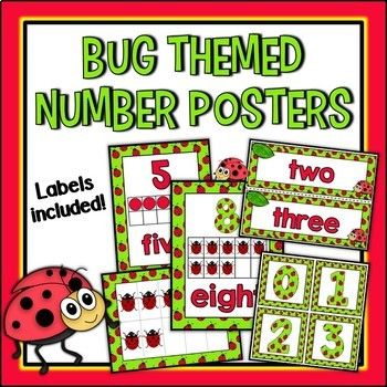 Bug Themed Number Posters and Labels Set