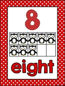 Polka Dot Themed Number Posters and Labels Set