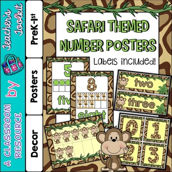 Number Posters and Labels Safari {UK Teaching Resource}