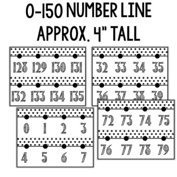 Number Posters and Number Line- Black and White Classroom Decor