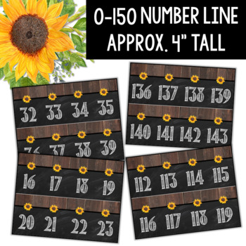 Number Posters and Number Line- Farmhouse Classroom Theme