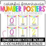 Colorful Farmhouse Number Posters and Number Line (English
