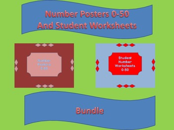 Number Posters and Student Worksheets 0-50 Bundle