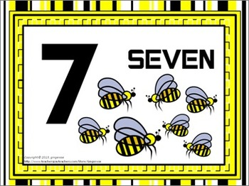 Number Posters, Word Wall Words, and Booklet - Bee theme