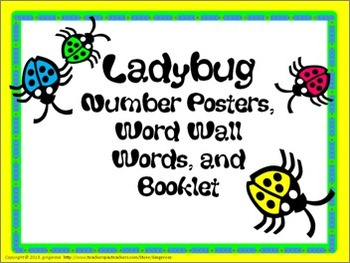 Number Posters, Word Wall Words, and Booklet - Ladybugs #2 Bright Colors