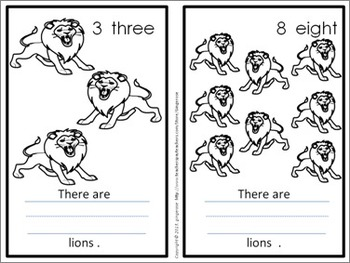 Number Posters, Word Wall Words, and Booklets - Lion (Red)