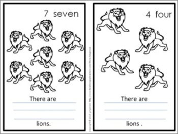 Number Posters, Word Wall Words, and Booklet - Lions (Blue)