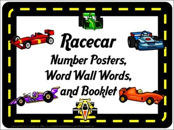 Number Posters, Word Wall Words, and Booklet - Racecar theme