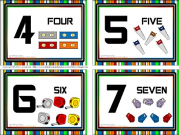 Number Posters and Word Wall Words - Tool Time (construction/ building)