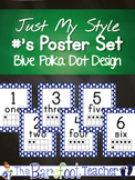 Number Posters for the classroom 1-20 with tens frames ~ blue polka dots