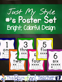 Number Posters for the classroom 0-20 with tens frames ~ solid, bright, colors