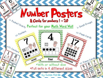 Number Posters and Cards 1-20 Primary Chevron: ten frame, counting fingers, dice
