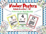Number Posters and Cards 1-20 Primary Chevron: ten frame,