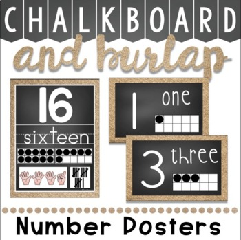 Number Posters in Chalkboard and Burlap in 2 Variations!