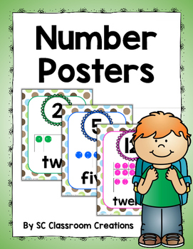 Number Posters (Blue, Green, & Brown Polka Dots)