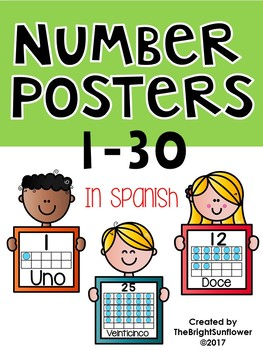 Number Posters in Spanish 1- 30- Kids Edition