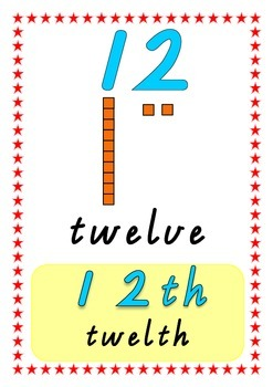 Number Posters in Victorian Modern Cursive including ordinal numbers