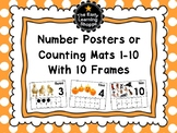 Number Posters or Counting Mats Numbers 1-10 With 10 Frames *2 Versions