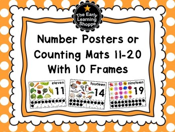 Number Posters or Counting Mats Numbers 11-20 With 10 Frames *2 Versions