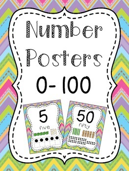 Number Posters to 100 (1-20 and all the tens) - Bright Che
