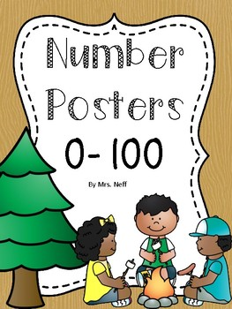 Number Posters to 100 (1-20 and all the tens) - Camping Theme