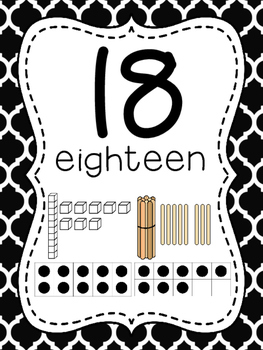 Number Posters to 100 (1-20 and all the tens) - Moroccan Black Background