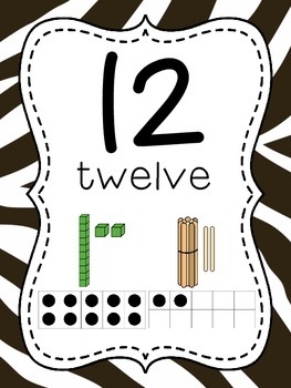Number Posters to 100 (1-20 and all the tens) - Zebra Print Background