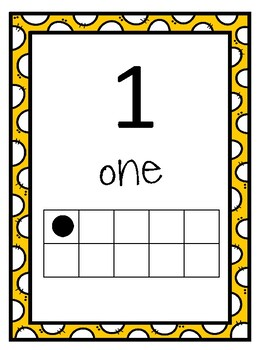 Number Posters to 20 with Ten Frame dotted