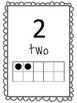 Number Posters to 20 with ten frames in black and white
