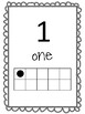 Number Posters to 30 with ten frames in black and white