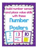"""Number Posters"" with ten frames and base 10 blocks"