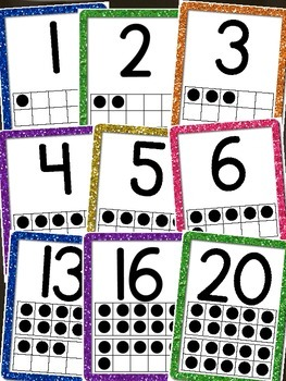 Number Posters w/ Tens Frames 0-20 - Glittery Design