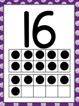Number Posters w/ Tens Frames 0-20 - Sketchy Polka Dot Design