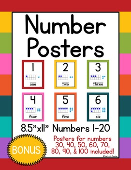 Number Posters 1-20 w/ Tens Frames & Base Ten Blocks-Bright Colors-Pre-K,K,1,2