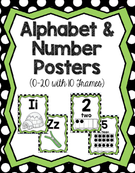 Number & Alphabet Posters with 10 Frames Numbers 0-20 (B&W Polka Dots)