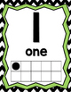 Number & Alphabet Posters with 10 Frames Numbers 0-20 (B&W Chevron with Lime)