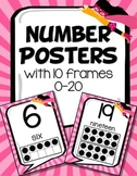 Number Posters with 10 Frames Numbers 0-20 (Pink Superhero)