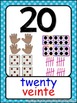Number Posters with Finger Counting, Ten Frame, Dice, Tally Marks- Dual Language