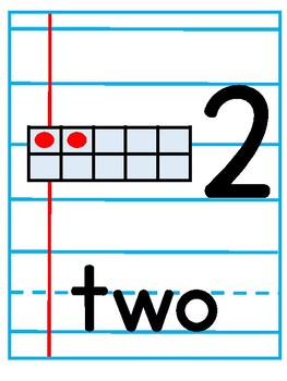Number Posters with Notebook Paper Background