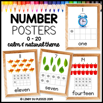Number Posters with Photos (0-20) Calm and Natural Classroom Decor