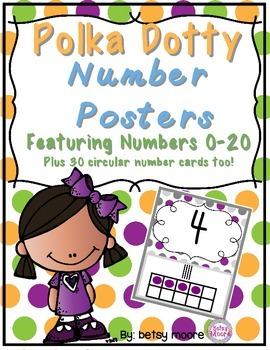 Number Posters with Tallies and Ten Frames Classroom Decor Polka Dots