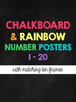 Number Posters 1-20 {Chalkboard & Rainbow}