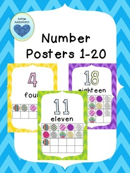 Number Posters with Ten Frames 1-20 Chevron