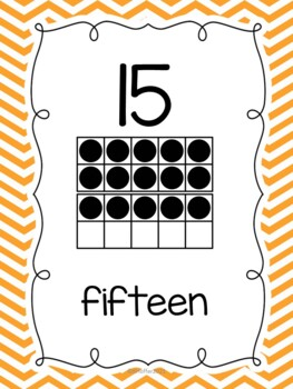Number Posters with Ten Frames {Chevron}