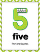 Number Posters 0 - 20 with Ten Frames - GREEN Chevron Theme