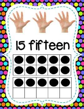 Number Posters with Ten Frames & Counting Hands - Colorful Polka Dots Theme