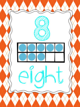 Number Posters 1-20 {Orange,Turquoise, Pink}