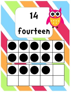 Number Posters with Ten Frames: Owl Themed